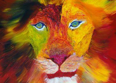 mon lion  coloré 46 x 55