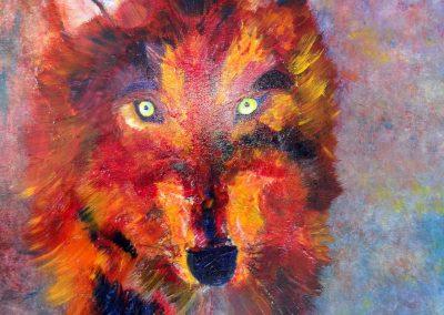 loup coloré  46 x 55