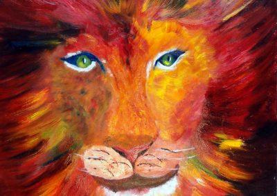 claire bauger grand lion coloré 60 x 80
