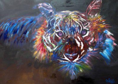claire bauger tigre bleu colore 100 x 73