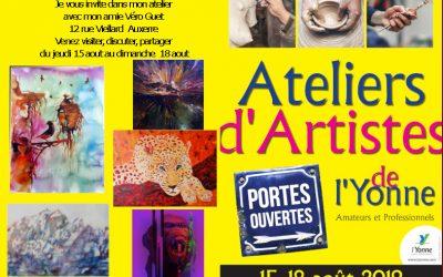 invitation du 15 au 18 aout portes ouvertes ateliers d'atistes de l'yonne